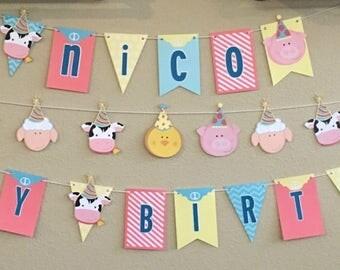 Farm Animal Birthday Banner