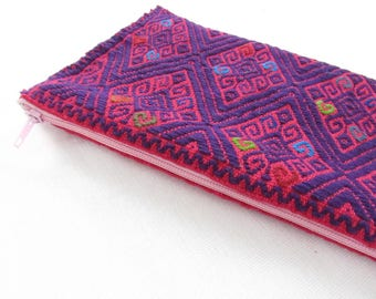 pink mexican pouch / purple embroidery