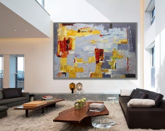 "Extra Large Abstract Modern Art Yellow Gray Wall Decor Art Abstract Art Wall Art Home Decor Minimalist Painting 40x60"" / 100x150cm"