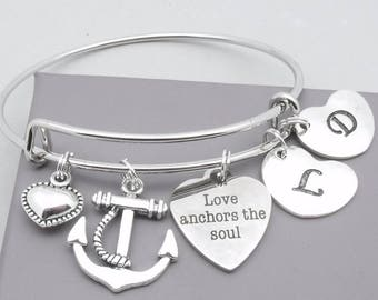 Love anchors the soul initial bracelet | anchor bracelet | personalised anchor jewelry | romantic gift | girlfriend wife fiancee gift