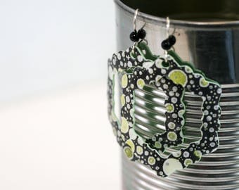 Green Geometric Dangle Earrings - Medium