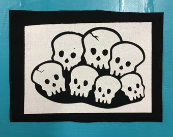 "Skull pile screenprinted fabric patch 4.5""x6"""