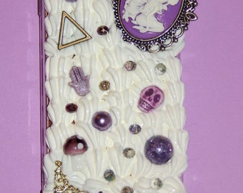 Decoden Phone Case For IPhone5. White Whip/ Purple Themed Cabochons.