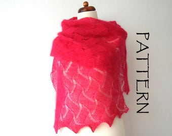 lace shawl knitting pattern, knit bridal cover up tutorial, PDF instant download, DIY tutorial
