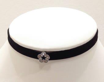 black ribbon choker with pendant