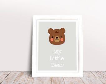 Bear Printable. Baby Print. Cute Animal. Nursery Decor. Digital Print.