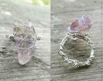 Raw Amethyst Wire Wrapped Crystal Ring