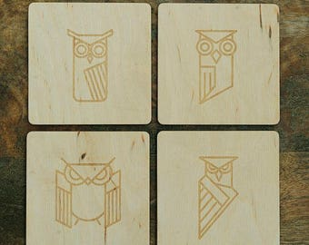 Cup coaster with owl