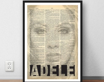 Adele ARt poster print wall decor moc dictionary page