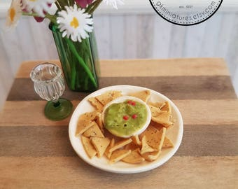 Taco chips and guacamole dip (1:12 scale miniature polymer clay food)