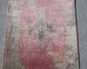 Oushak Rug Pink,VintageTurkish Small Rugs, Floş Rugs, Home Living,Decoratıve Pastel Pink Rugs,2x3 feet,Rugs, Carpet,