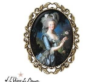 Brooch pin Marie Antoinette cabochon artist Elisabeth Vigée Le Brun bronze