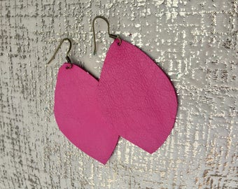 Magenta Pink Leather earrings