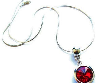 Silver Plated 'July Birthstone' Ruby Coloured Crystal Pendant Necklace with Velvet Pouch & Gift Box