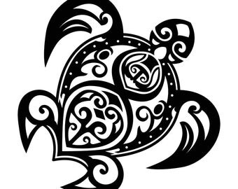 Turtle tribal tattoo Graphics SVG Dxf EPS Png Cdr Ai Pdf Vector Art Clipart instant download Digital Cut Print File Cricut Silhouette