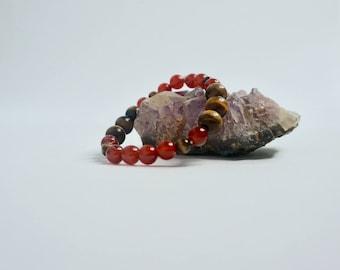 Healing Crystal Bracelet: Carnelian & Tigers Eye