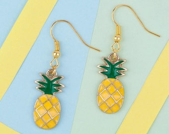 Enamel drop pineapple earrings