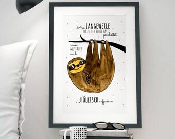 A3 Print Illustration Poster Sloth P12