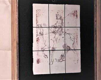 Vintage framed ceramic-tiled picture