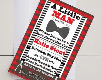 Little Man Baby Shower Invitation-Plaid-Digital-Printable-5x7