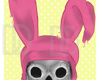 RIP Louise, Digital Print, Art, Bob's Burger, Louise Belcher, Skull, Bunny Ears