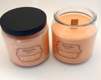 Creamy Cinnamon Chai large woodwick soy candle, 1lb