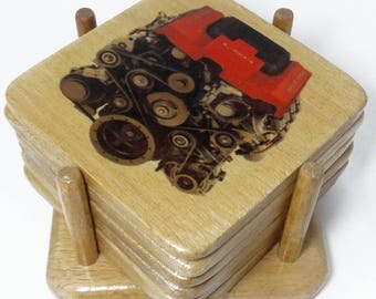 Car Engine - Wooden Coasters Set - Made in Egypt