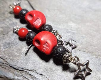 Red glass and black lava rock skull and star earrings/candy skull/day of the dead/Halloween/gift