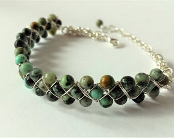 African turquoise and byzantine chainmaille bead bracelet