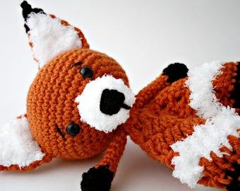Crochet Lovey, Fox Baby Blanket,Crochet Fox Lovey,Handmade Baby Blanket,Woodland Theme Baby Gift,Woodland Blanket,Orange and White,Baby Gift