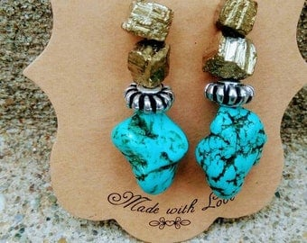 Rockstone dangle earrings turquoise and gold