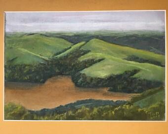 California Reservoir, Landscape, Soft pastel painting, Unframed original art