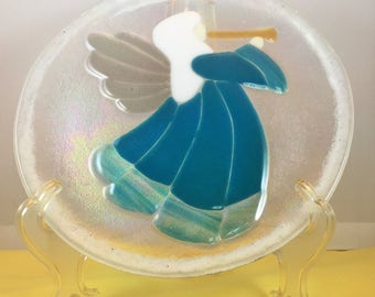 Angel fused glass decorative plate
