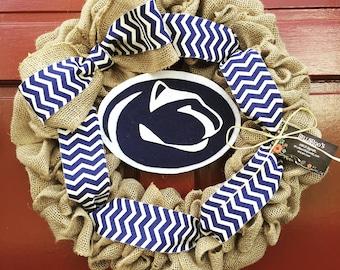 Penn State Nittany Lions Collegiate Burlap Wreath