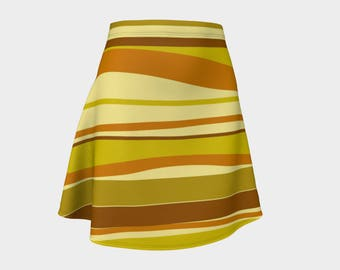 Retro, Skirt, Gift, For Her, Wife Gift, Womens Skirt, Gift, Geometric, A-Line Skirt, Womens Gift, Unique, Gift for Women, Brown