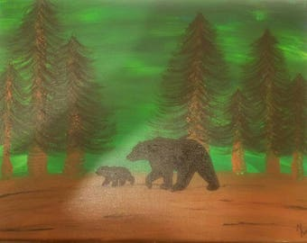Bear and Cub--12x16 acrylic on stretched canvas