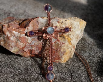 Flourite and  Amethyst copper cross