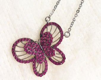 925 Sterling silver hot pink Butterfly necklace