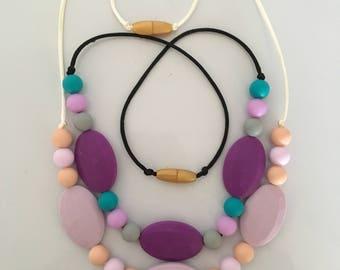 Purple flat bead necklaces