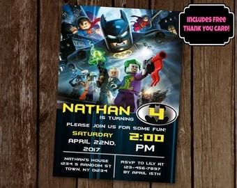 Lego Batman Invitation, Lego Birthday Invitation, Lego Batman Birthday Invite, Batman Invitation, Printable Invite