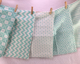 Turquoise, Teal Burp Cloths, Set of 5