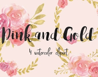 Watercolor clipart, floral clipart, instant download, pink gold clipart, wedding diy clipart, flowers clipart,wreath clipart, wedding wreath