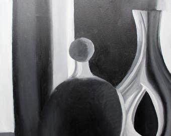 Black and White Vases Still Life