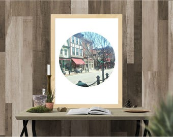 street print, small town print, New England, Maine, instant download