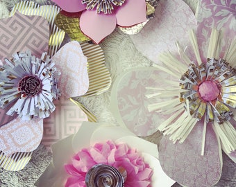 4 Pc Gold & Pink paper flowers