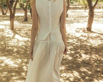 Wedding top white top bridal boho bridal top jasmin clematis offwhite