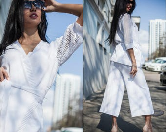 Wedding Suit Two piece outfit Women pants White pantsuit women white set white set top pants set summer knitwear boho set  suit casual women