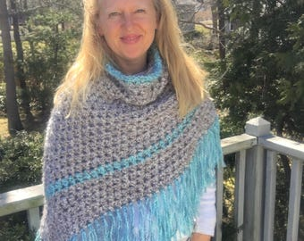 Crochet Pattern - Fringed Seaside Poncho with Cowl Neck, Beige, Blue, Turquoise, Silver