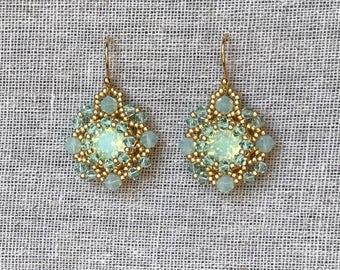 Mint gold beadwoven earrings, Swarovski Chrysolite opal crystal earrings, boho chic, light green earrings, wedding jewelry, vintage style