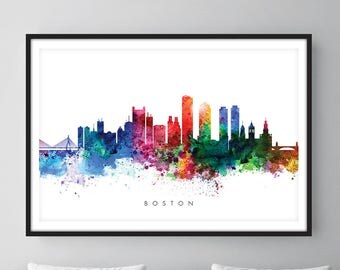 Boston Skyline, Boston Massachusetts Cityscape Art Print, Wall Art, Watercolor, Watercolour Art Decor [SWBOS01]